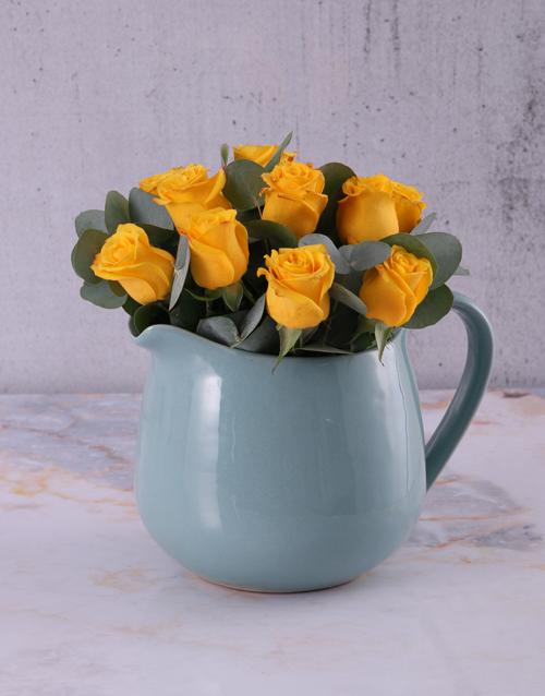 anniversary: Yellow Roses in Ceramic Water Jug!