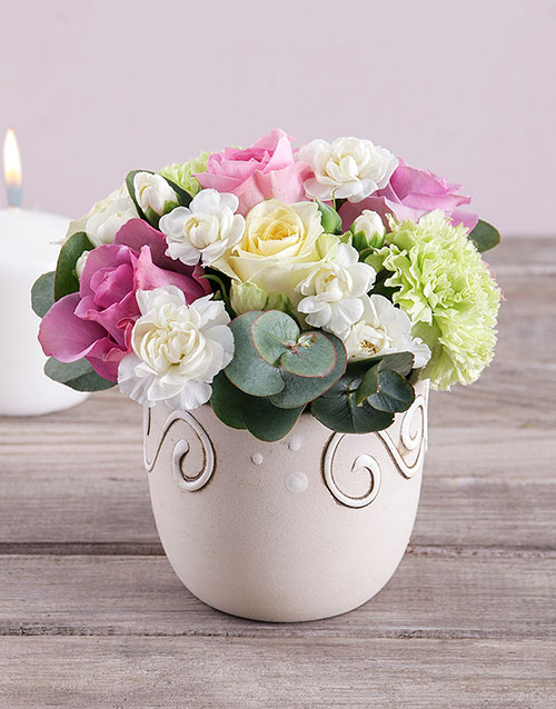 colour: Roses and Carnations in Ceramic Pot!