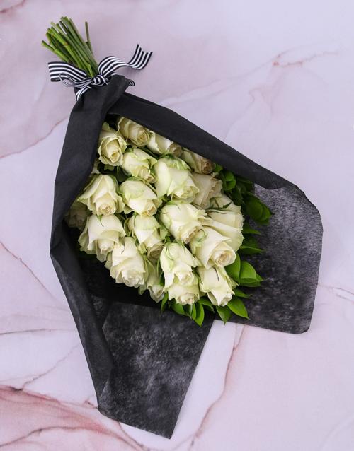 anniversary: Pure White Rose Bouquet!