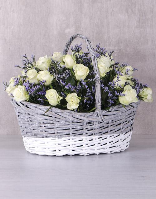 flowers: Radiant White Rose Basket!