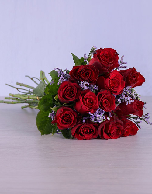 anniversary: Red Roses Wrapped in Purple!