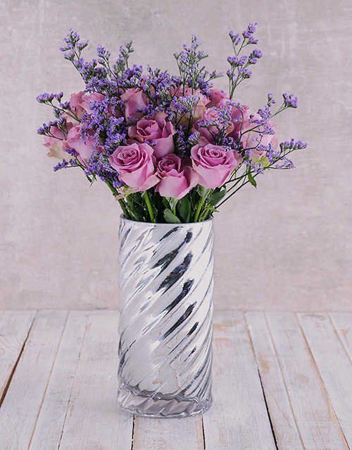 anniversary: Graceful Purple Roses in Cylinder Twirl!