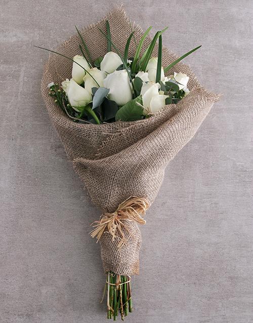 anniversary: Dazzling White Rose Bouquet!