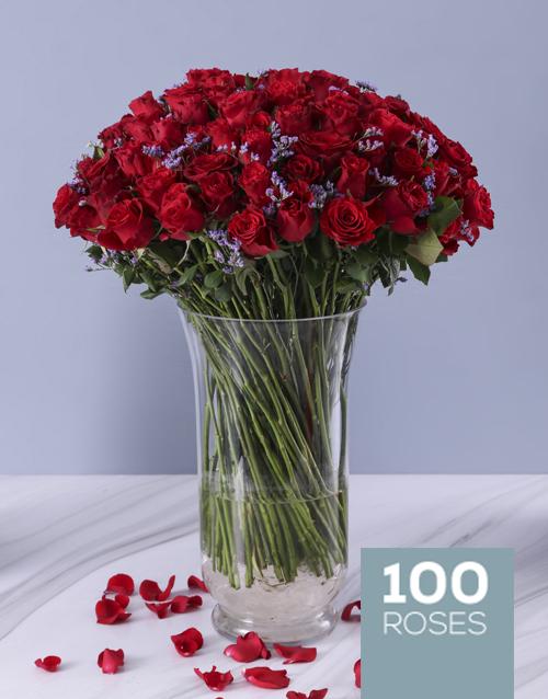 colour: Designer 100 Red Roses Vase!
