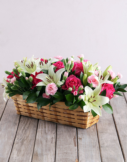 colour: Mixed Flowers in Rectangle Basket!