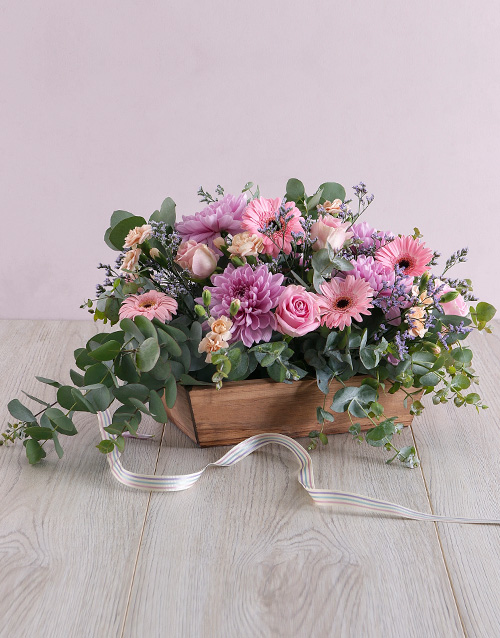 birthday: Delicate Floral in Wooden Box!