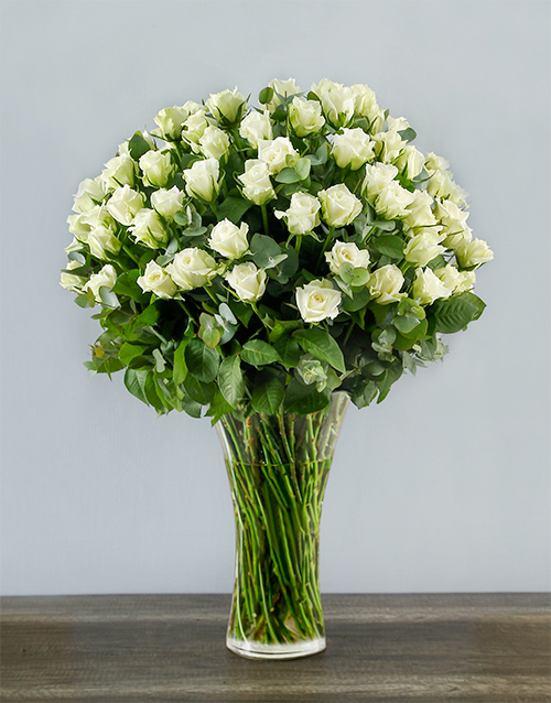 anniversary: 100 White Roses in a Tall Glass Vase!