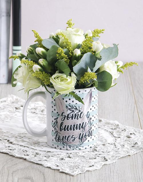 anniversary: Some Bunny Loves you Floral Mug Arrangement!