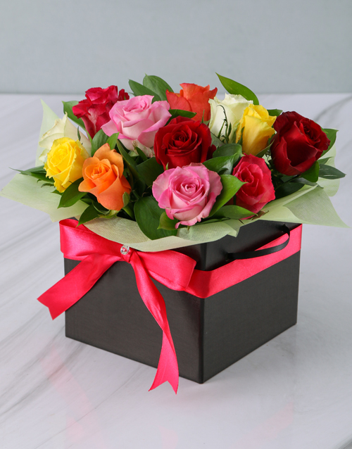 anniversary: Mixed Roses in a Black Box!