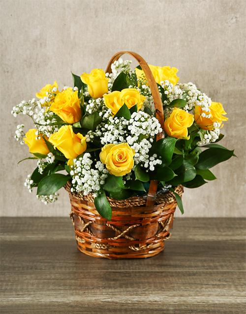 basket: Woven Basket of Yellow Roses!