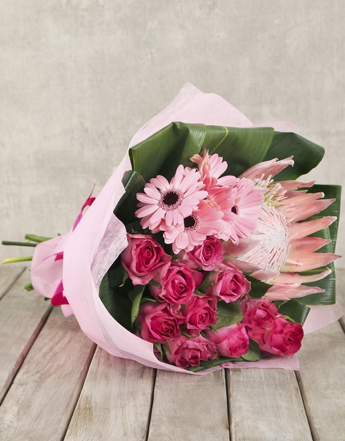 bouquets: Trio of Gerberas Pink Roses and a King Protea!