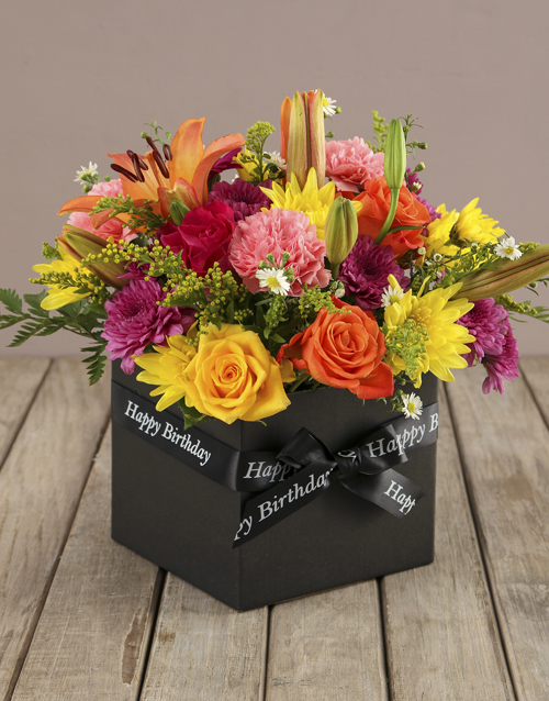 best-sellers: Bright And Brilliant Birthday Box Of Flowers!