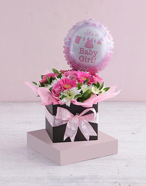 balloon: Baby Girl Floral Box with Balloon!