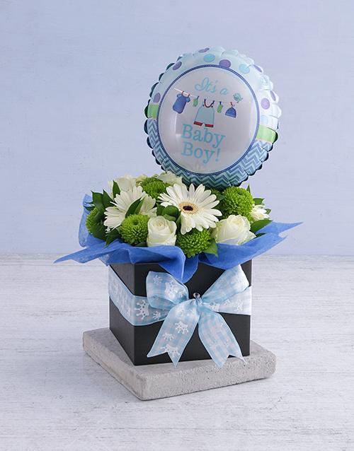 balloon: Baby Boy Floral Box with Balloon!