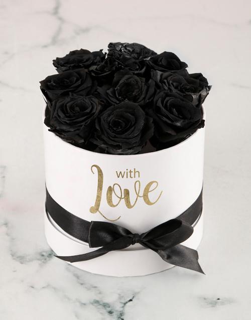 roses: Preserved Black Roses In White Box!