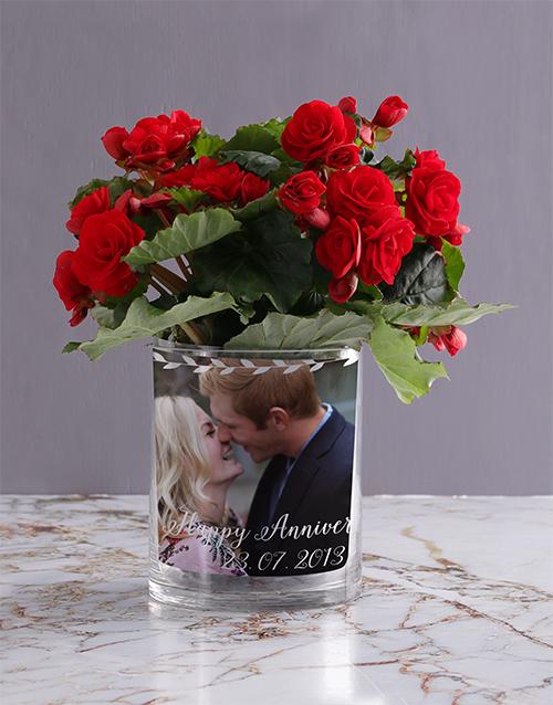 anniversary: Personalised Begonia Anniversary Photo Vase!