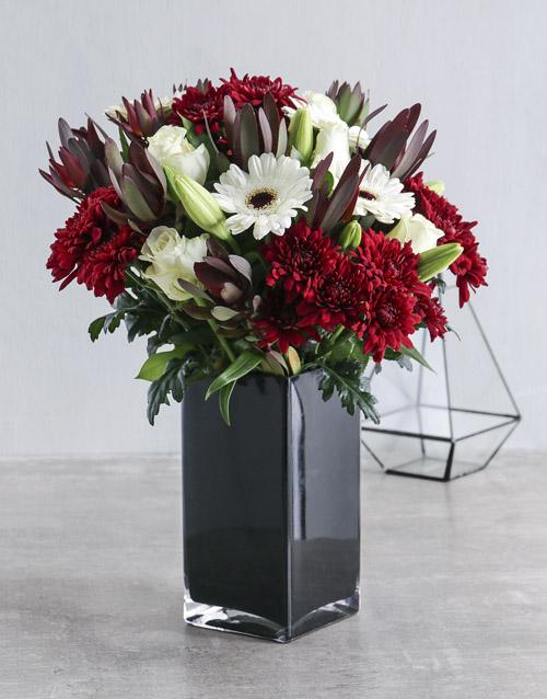 vase: Red and White Flowers in Black Vase!