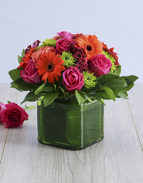 year-end: Mixed Floral in Square Green Vase!