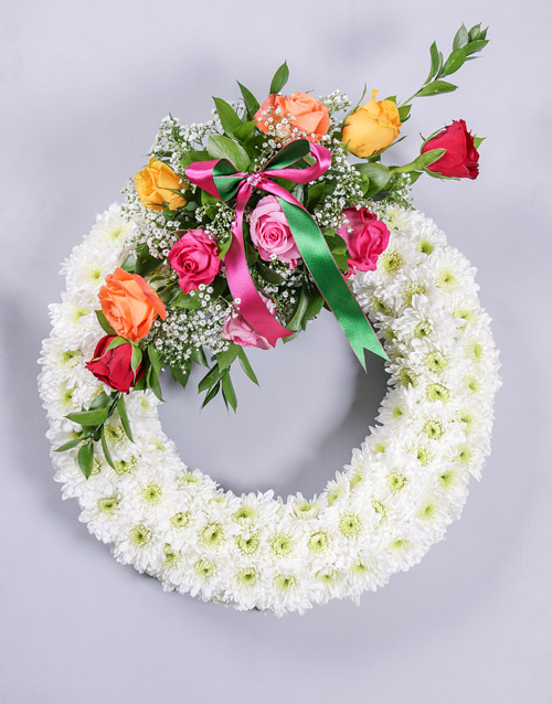 colour: Colourful Mixed Rose Sympathy Wreath!