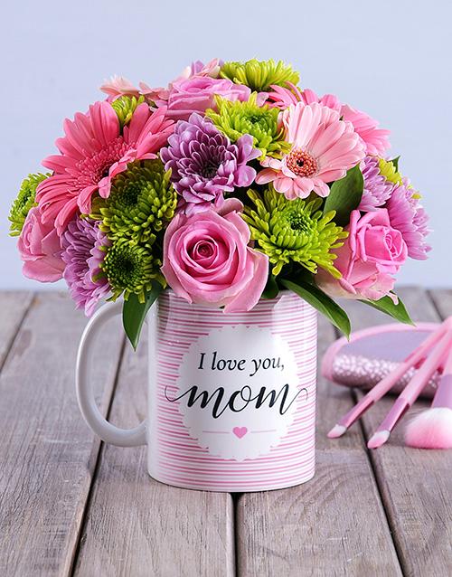 colour: I Love You Mom Floral Arrangement Mug!