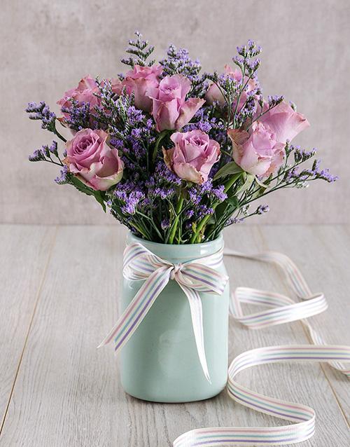 anniversary: Lilac Roses in Mint Ceramic Vase!