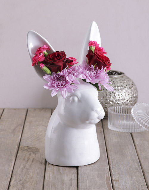 easter: Mixed Flowers in Rabbit Vase!