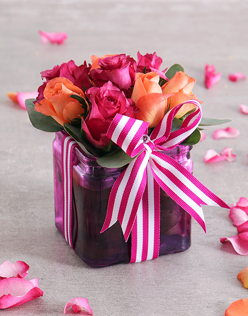 colour: Cerise Rose and Ribbon in a Square Vase!