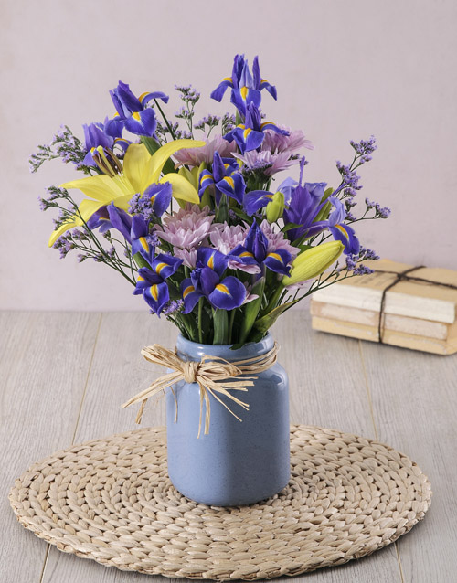 colour: Iris and Lily in Blue Consol Jar!