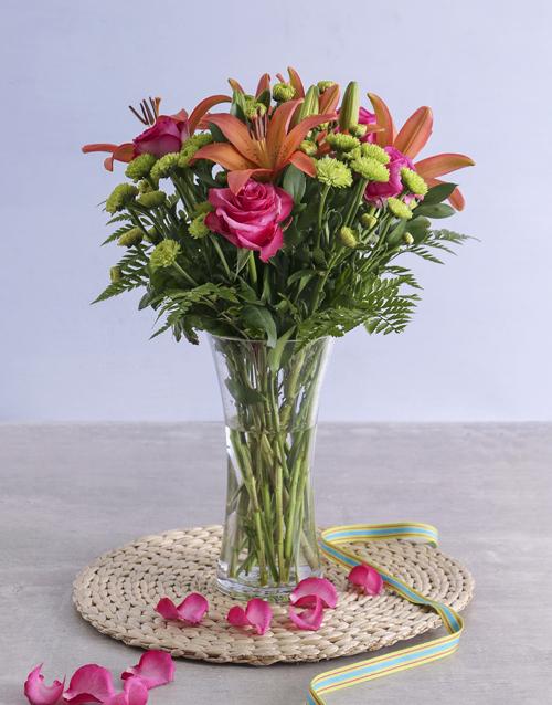 friendship: Royal Sunset Lily and Cerise Rose Arrangement!