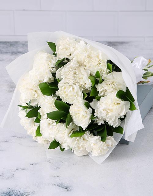 bouquets: Crisp White Carnation Cluster!