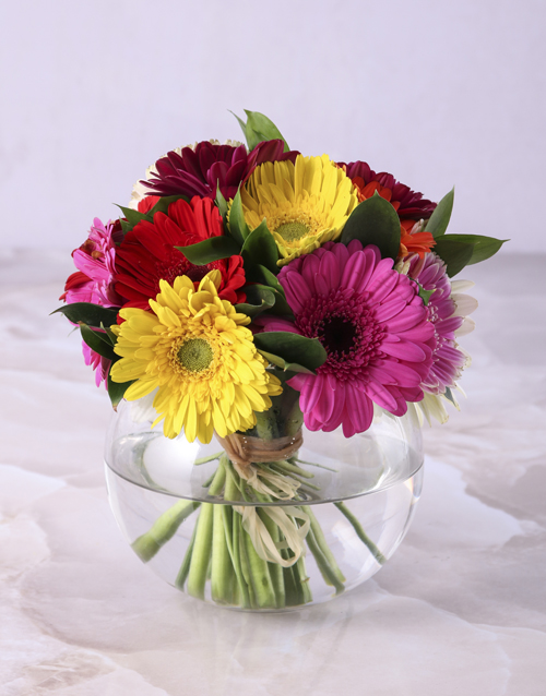spring-day: Gerbera Daisies in a Small Bowl Vase!