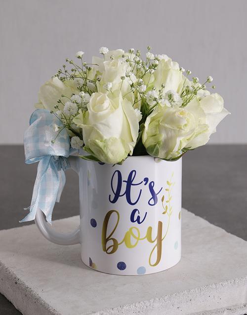 flowers: Baby Boy Roses in a Mug!