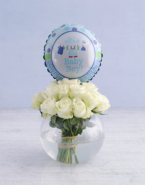 baby: White Roses and Baby Boy Balloon!