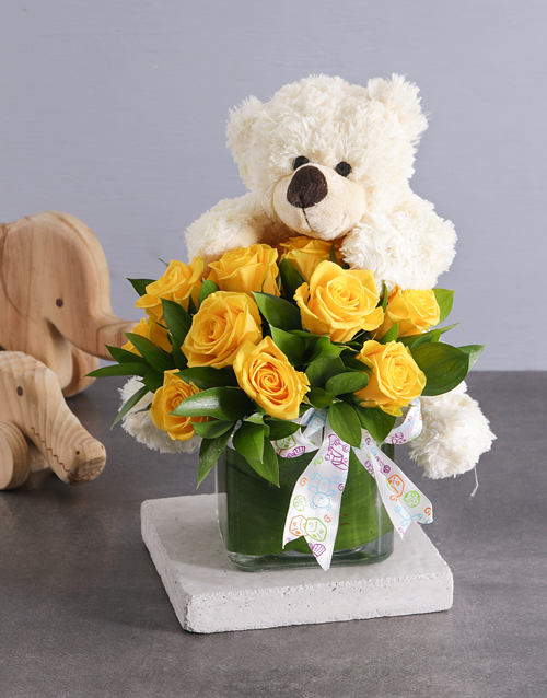 luxury: Yellow Roses and White Teddy!