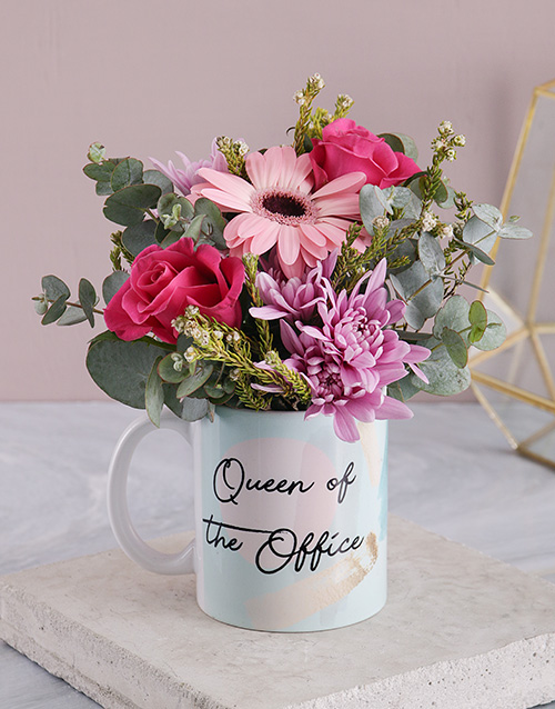 secretarys-day: Queen Of The Office Floral Mug!