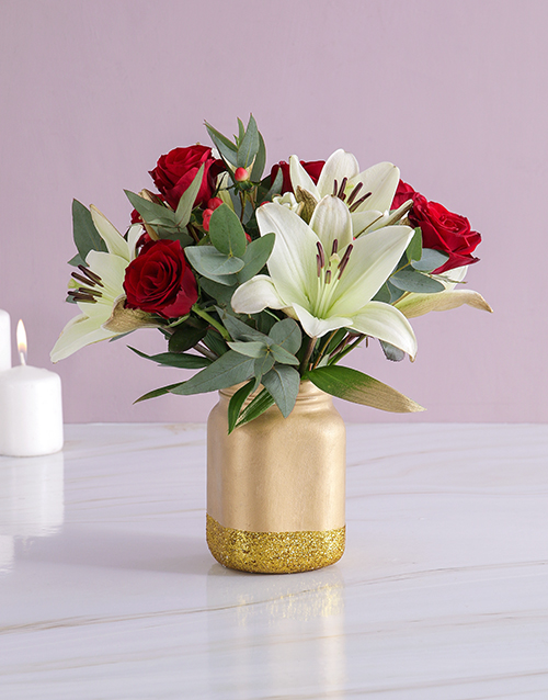 christmas: Roses and Lilies in a Gold Consol Jar!