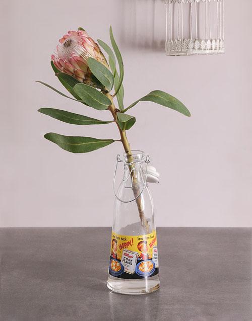 colour: Single Protea in Milk Bottle!