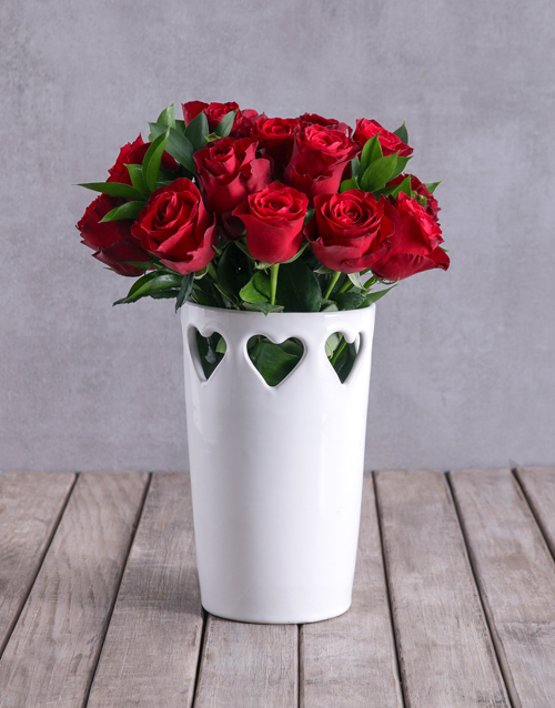 anniversary: Red Roses In Ceramic Cut Out Hearts Vase!