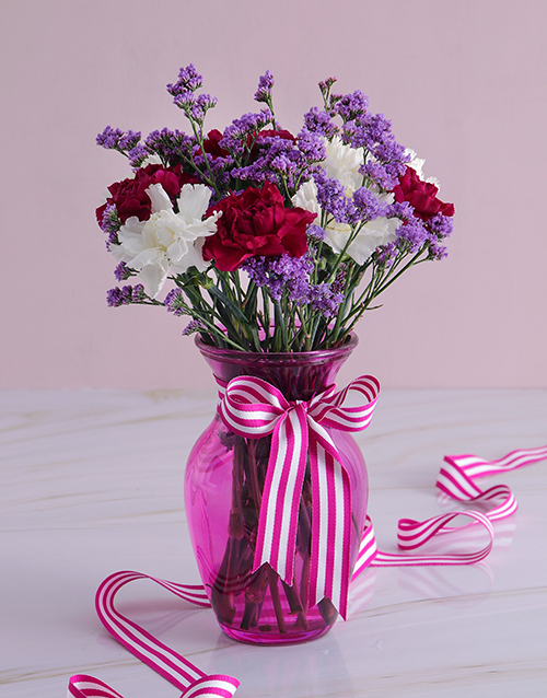 colour: Purple and White Carnations in a Vase!