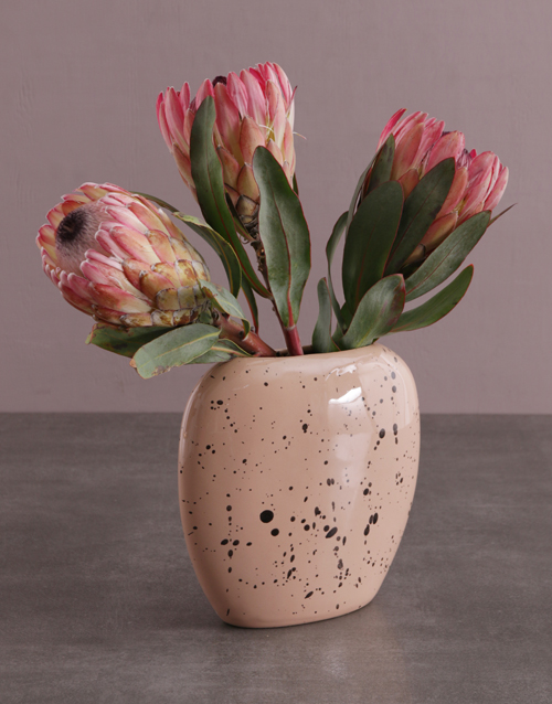 anniversary: Proteas in Oval Moon Vase!
