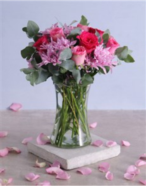 colour: Pink Florals in Tall Vase!
