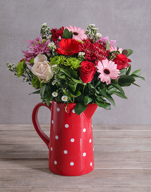 colour: Flower Mix In A Red Polka Jug!