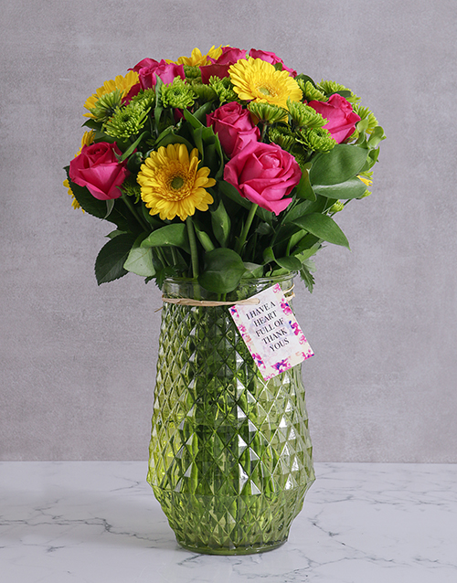 thank-you: Thank You Blooms In Green Vase!