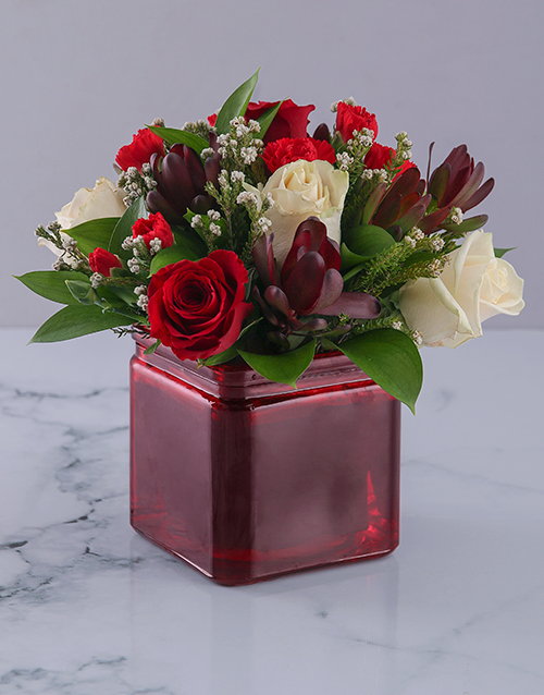 birthday: Vase of Red and Cream Roses!