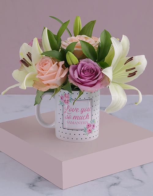 christmas: Personalised Love You Lilies and Roses Mug!