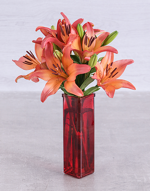vase: Sunset lilies in a Red Straight Vase!