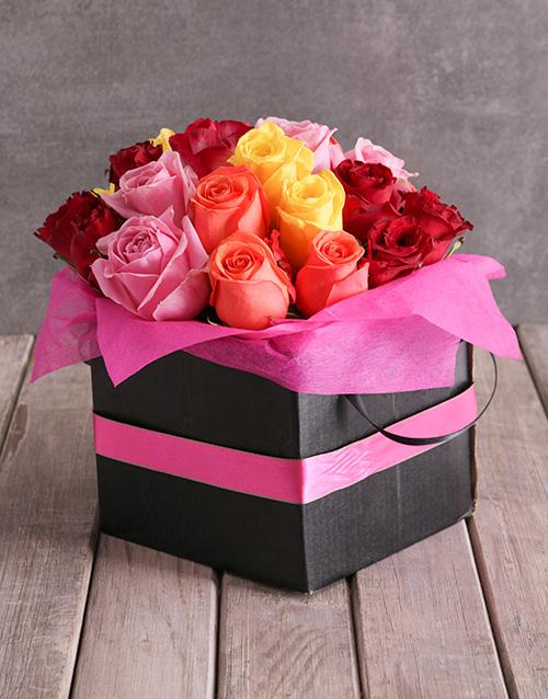 anniversary: Mixed Roses In Pink Ribbon Box!