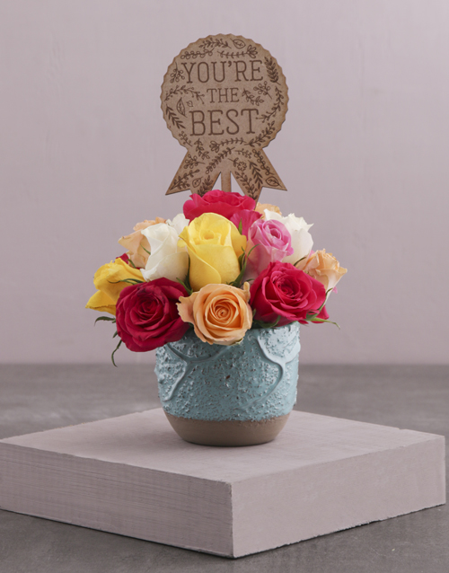 friendship: The Best Mixed Roses in a Turquoise Pot!