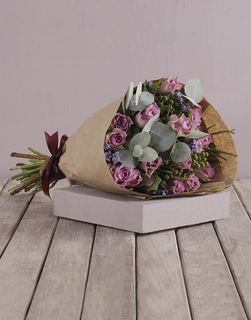 anniversary: Lilac Roses and Gum Leaf Bouquet!