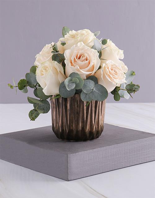 anniversary: Cream Roses in Bronze!